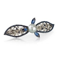 thumb-Moderne Fonkelende Haarclip Pearl  - Blauw-1