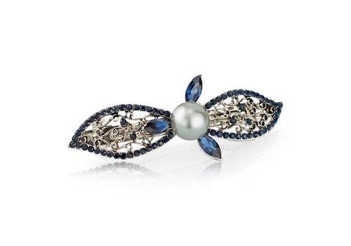 Moderne Fonkelende Haarclip Pearl  - Blauw