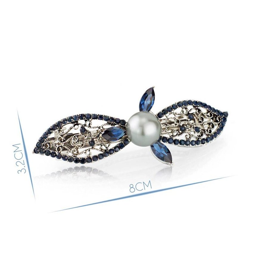Moderne Fonkelende Haarclip Pearl  - Blauw-3
