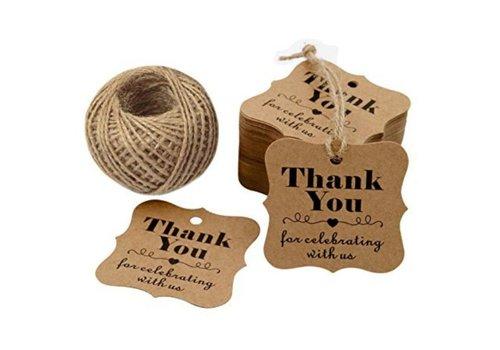 Labels Thank You - Bruin -  200 stuks - Geschenk doosjes / Bedank doosjes