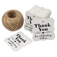 thumb-Labels Thank You - Wit -  200 stuks - Geschenk doosjes / Bedank doosjes-1