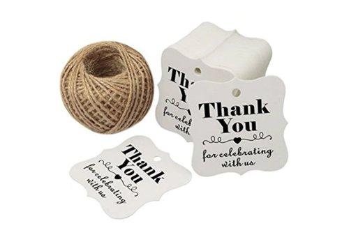 Labels Thank You - Wit -  200 stuks - Geschenk doosjes / Bedank doosjes