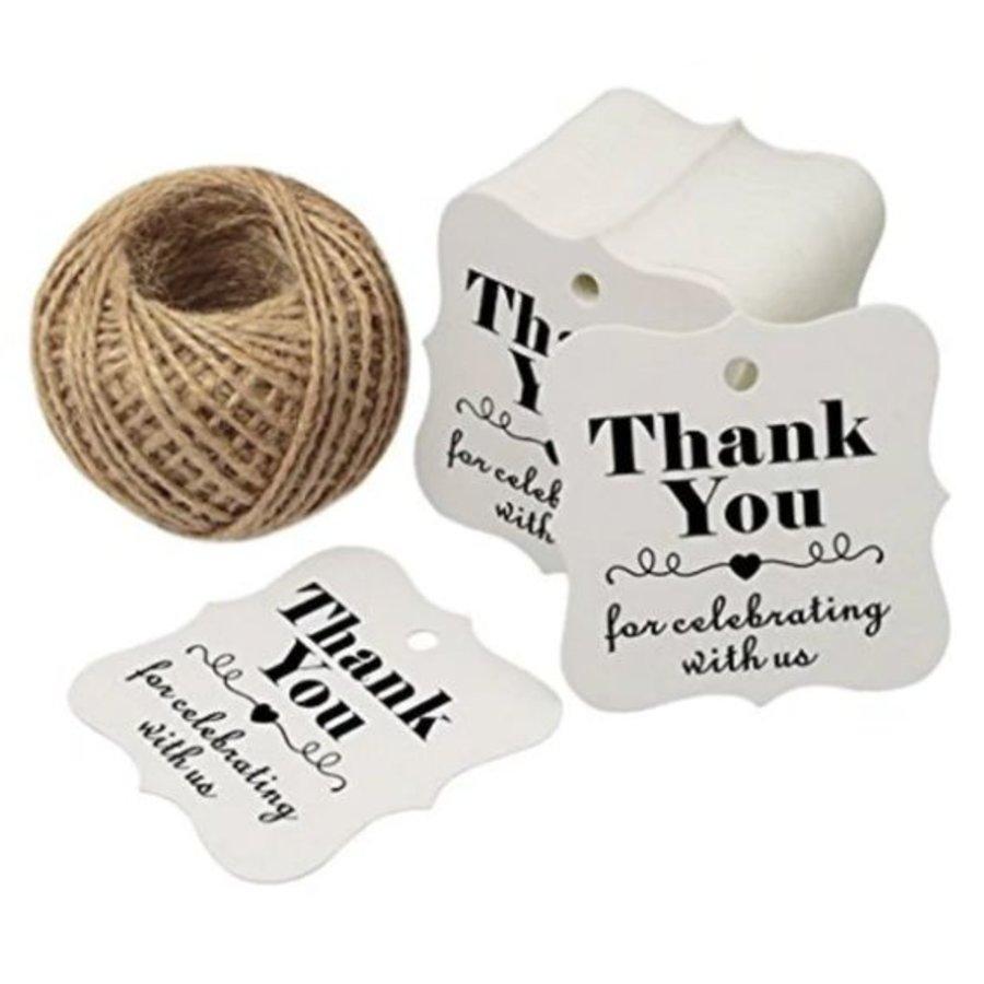 Labels Thank You - Wit -  200 stuks - Geschenk doosjes / Bedank doosjes-1