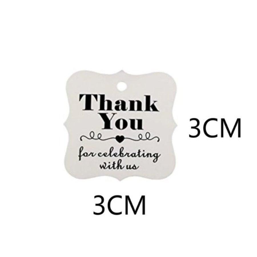 Labels Thank You - Wit -  200 stuks - Geschenk doosjes / Bedank doosjes-2