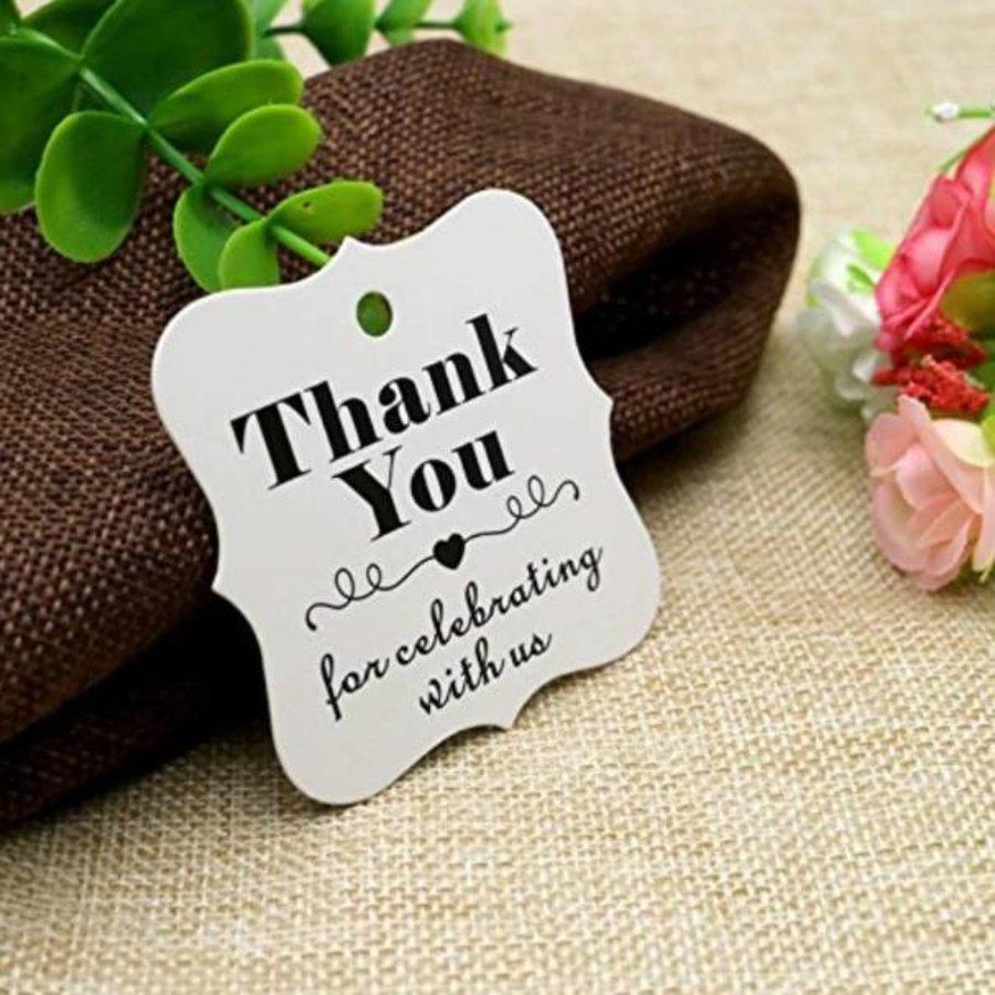Labels Thank You - Wit -  200 stuks - Geschenk doosjes / Bedank doosjes-3