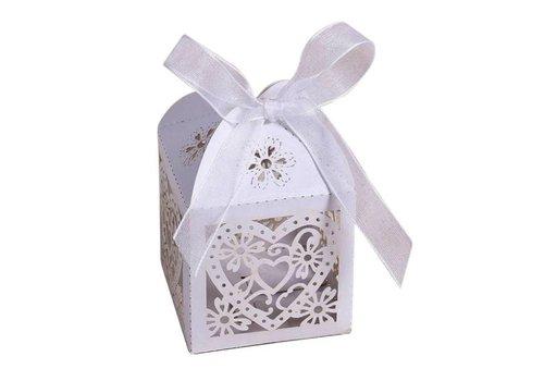 Geschenk doosjes / Cadeau doosjes - 50 stuks - Hart -  Wit