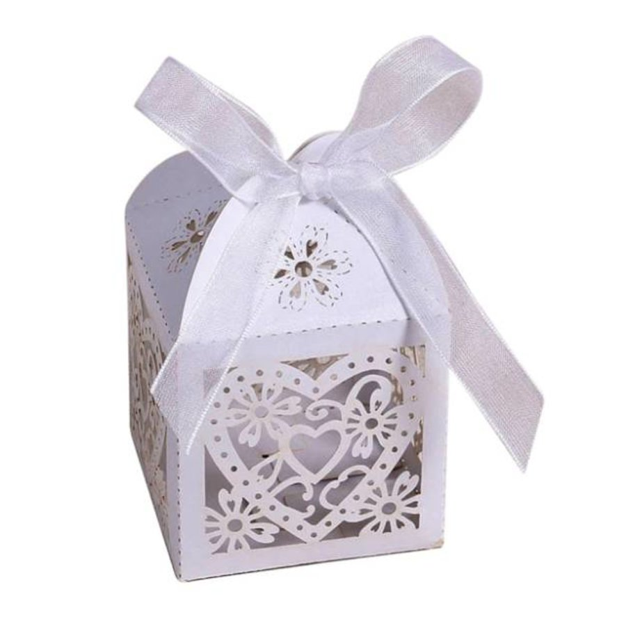 Geschenk doosjes / Cadeau doosjes - 50 stuks - Hart -  Wit-1