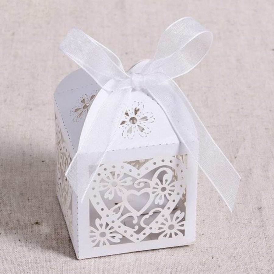 Geschenk doosjes / Cadeau doosjes - 50 stuks - Hart -  Wit-7