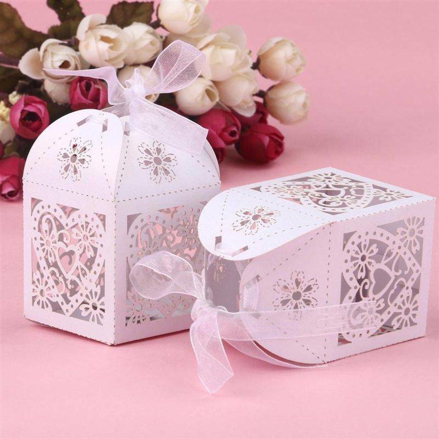 Geschenk doosjes / Cadeau doosjes - 50 stuks - Hart -  Wit-4
