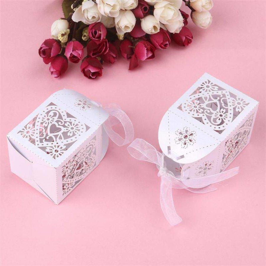 Geschenk doosjes / Cadeau doosjes - 50 stuks - Hart -  Wit-3