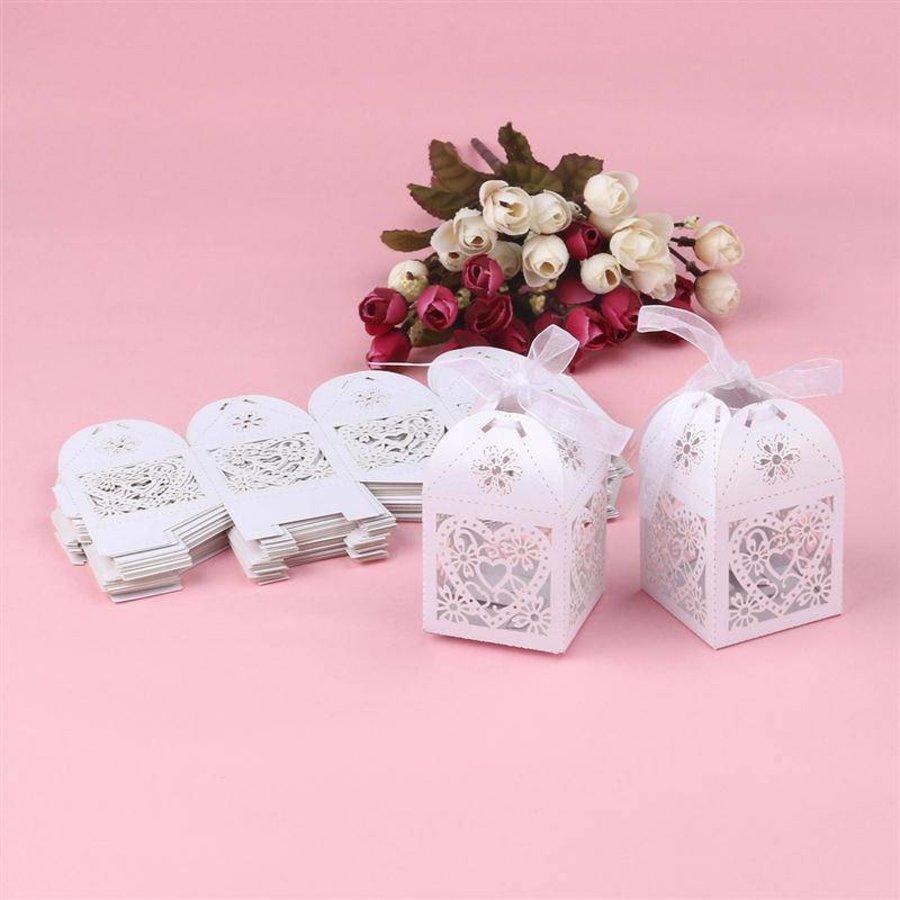 Geschenk doosjes / Cadeau doosjes - 50 stuks - Hart -  Wit-6