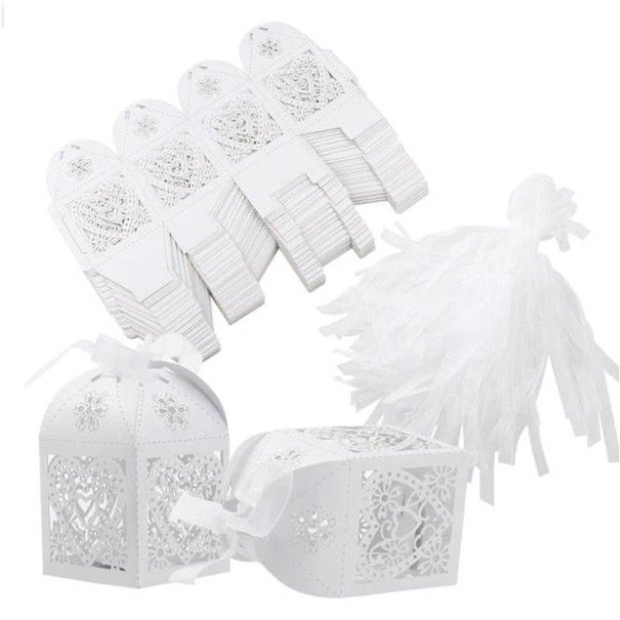 Geschenk doosjes / Cadeau doosjes - 50 stuks - Hart -  Wit-2