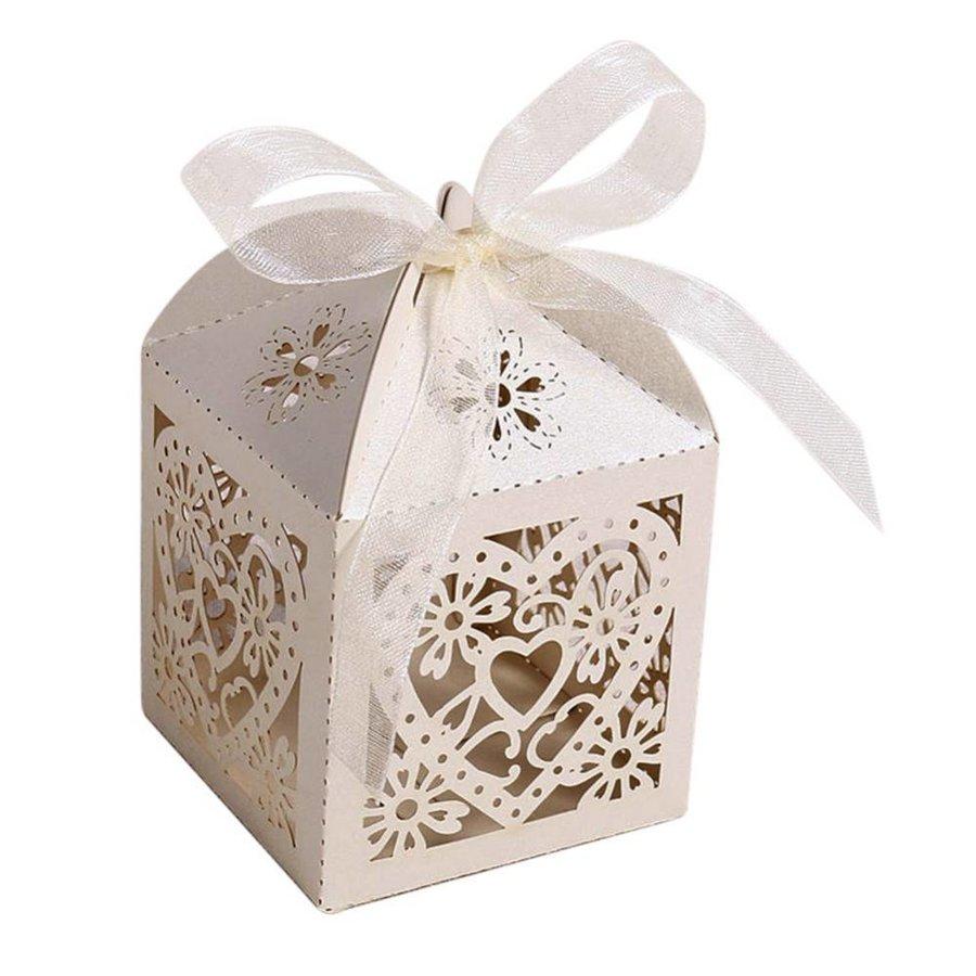 Geschenk doosjes / Cadeau doosjes - 50 stuks - Hart -  Ivoor / Beige-6
