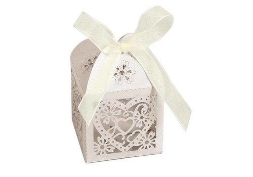 Geschenk doosjes / Cadeau doosjes - 50 stuks - Hart -  Ivoor / Beige