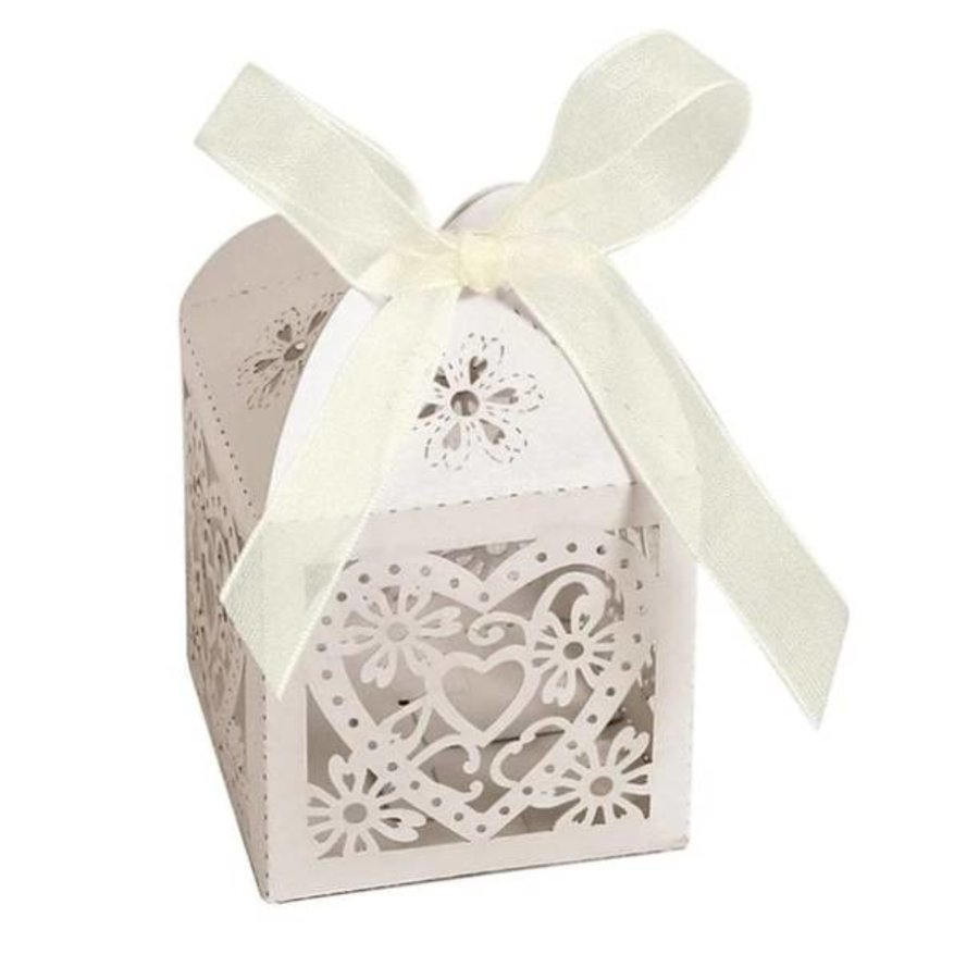 Geschenk doosjes / Cadeau doosjes - 50 stuks - Hart -  Ivoor / Beige-1