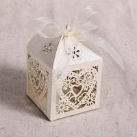 thumb-Geschenk doosjes / Cadeau doosjes - 50 stuks - Hart -  Ivoor / Beige-3