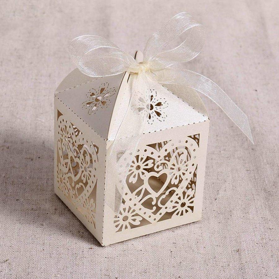 Geschenk doosjes / Cadeau doosjes - 50 stuks - Hart -  Ivoor / Beige-3