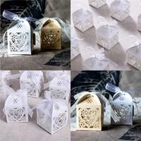 thumb-Geschenk doosjes / Cadeau doosjes - 50 stuks - Hart -  Ivoor / Beige-4