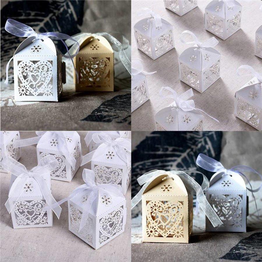 Geschenk doosjes / Cadeau doosjes - 50 stuks - Hart -  Ivoor / Beige-4