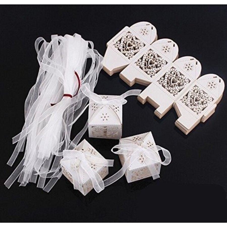 Geschenk doosjes / Cadeau doosjes - 50 stuks - Hart -  Ivoor / Beige-2