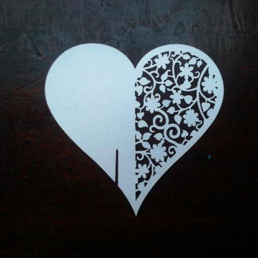 Glaskaartjes / Tafelkaartjes  - 50 stuks - Hart - Off White-6