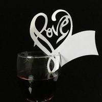 thumb-Glaskaartjes / Tafelkaartjes  - 50 stuks - Love - Off White-2