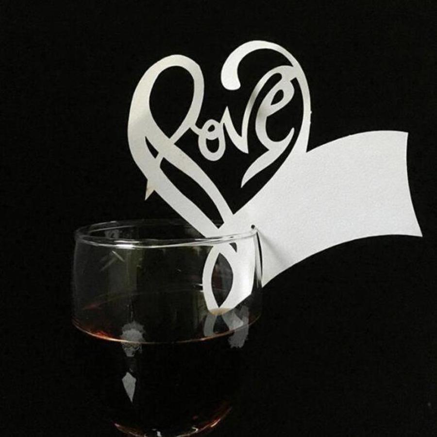 PaCaZa - Glaskaartjes / Tafelkaartjes - 50 stuks - Love - Off White-2