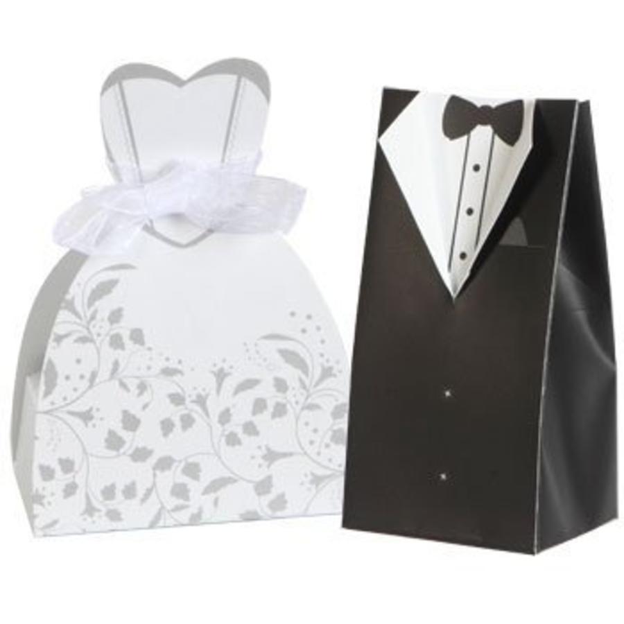 Cadeau doosjes / Geschenk doosjes - 50 stuks - Bruid & Bruidegom-1
