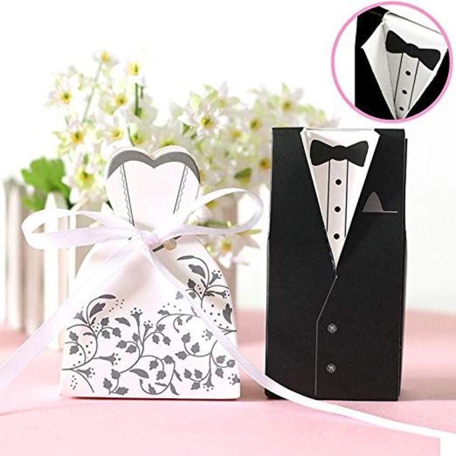 Cadeau doosjes / Geschenk doosjes - 50 stuks - Bruid & Bruidegom-3