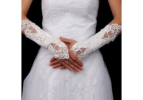 Bruidshandschoenen van Glanzend Satijn - Wit