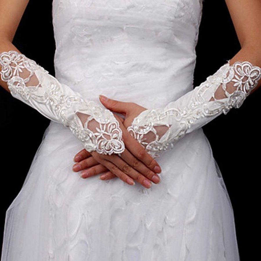 Bruidshandschoenen van Glanzend Satijn - Wit-1