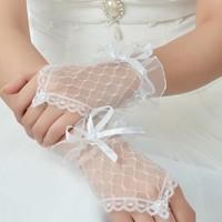 thumb-Prachtige Ivoorkleurige Bruidshandschoenen-1
