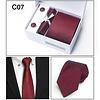 Elegante Stropdas Set in Geschenkdoos - inclusief Manchetknopen, Pochet en Dasspeld - C07 - Rood
