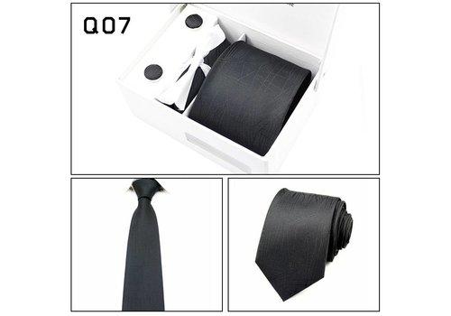 Elegante Stropdas Set in Geschenkdoos - inclusief Manchetknopen, Pochet en Dasspeld - Q07 -  Zwart