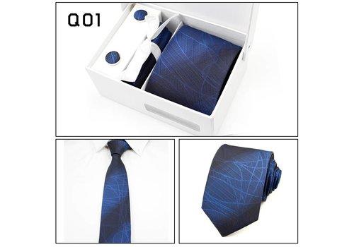 Elegante Stropdas Set in Geschenkdoos - inclusief Manchetknopen, Pochet en Dasspeld - Q01 -  Blauw