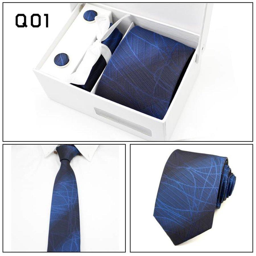 Elegante Stropdas Set in Geschenkdoos - inclusief Manchetknopen, Pochet en Dasspeld - Q01 -  Blauw-1