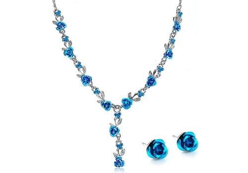 Sieraden Set met Roosjes - Blauw (Ketting & Oorbellen)