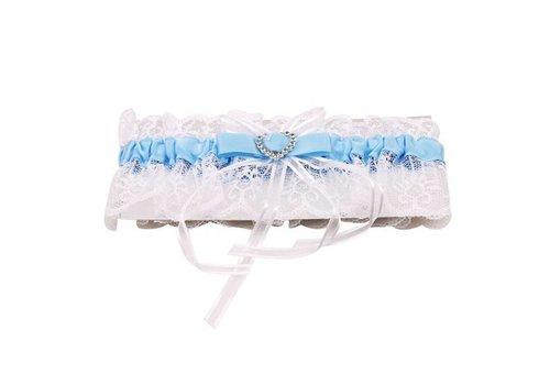 Kousenband Wit met Blauw en Fonkelend Hart