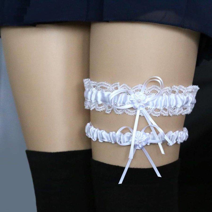 Kousenband - 2 stuks - Wit met Bloemetje-1