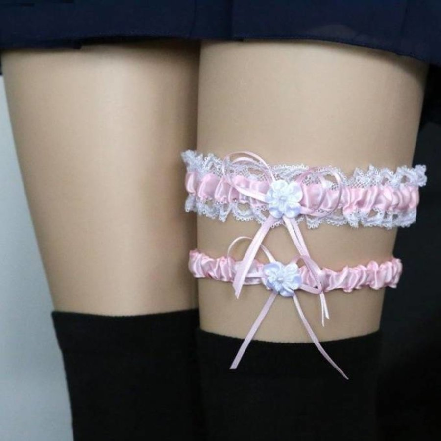Kousenband - 2 stuks - Wit en Roze met Bloemetje-1
