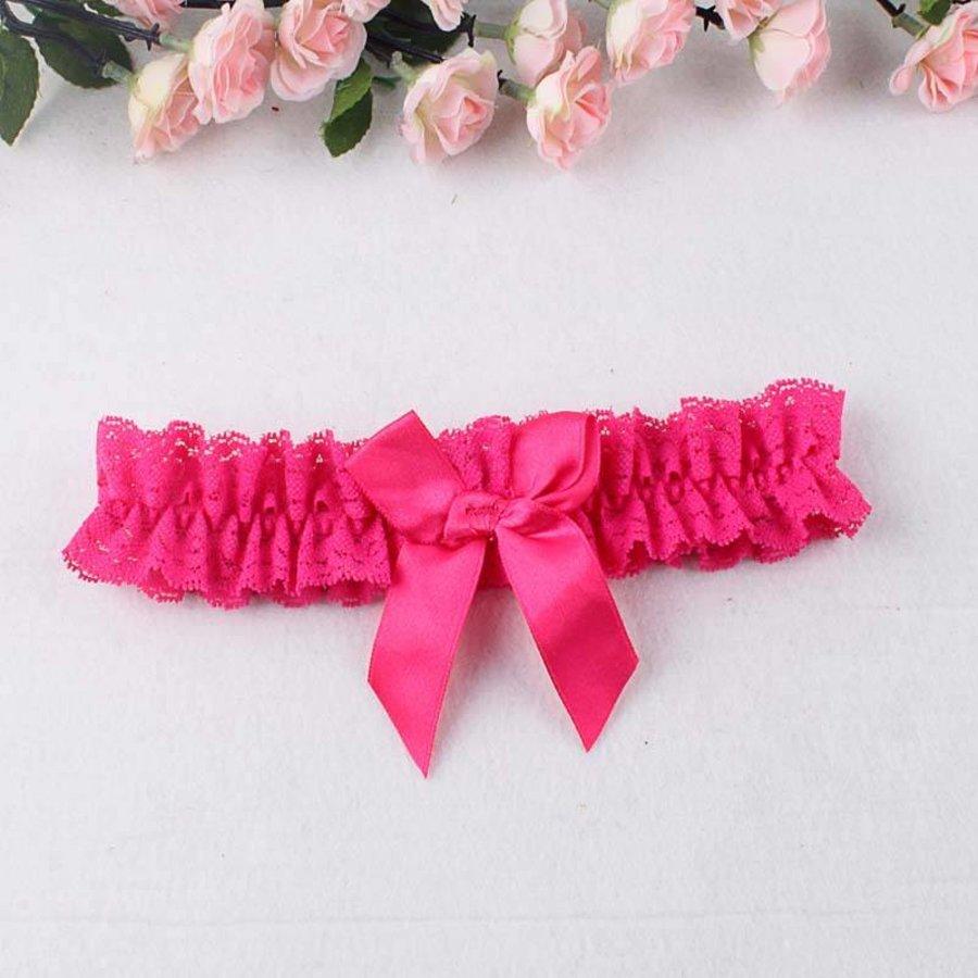 Kousenband Roze met Roze Strik-1