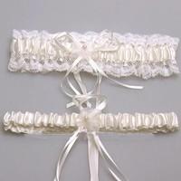 thumb-Kousenband - 2 stuks - Wit en Ivoor met Bloemetje-2