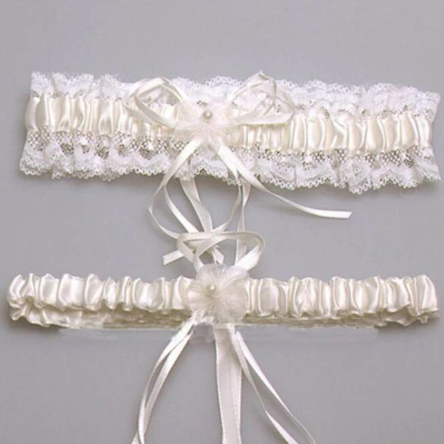 Kousenband - 2 stuks - Wit en Ivoor met Bloemetje-2