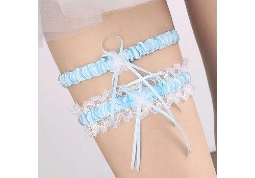 Kousenband - 2 stuks - Wit en Licht Blauw met Bloemetje