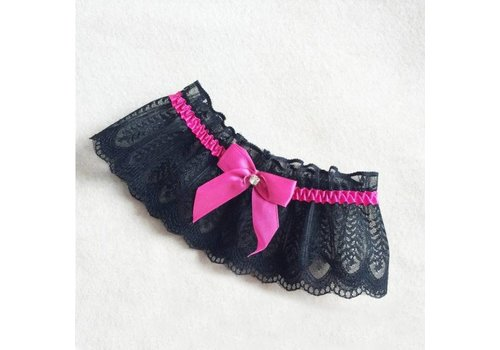 Kousenband Zwart Met Fel Roze Strik