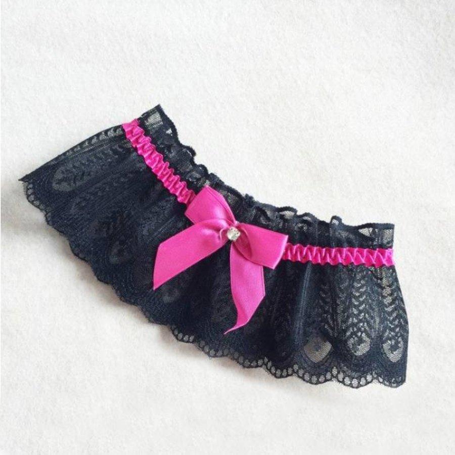 Kousenband Zwart Met Fel Roze Strik-1