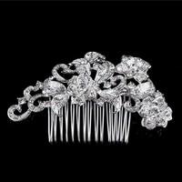 thumb-Elegante Zilverkleurige Haarkam met Fonkelende Kristallen-1