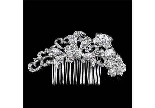 Elegante Zilverkleurige Haarkam met Fonkelende Kristallen