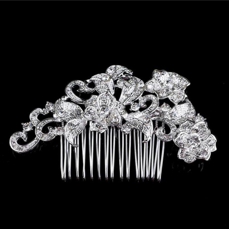 Elegante Zilverkleurige Haarkam met Fonkelende Kristallen-1