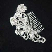 thumb-Elegante Zilverkleurige Haarkam met Fonkelende Kristallen-2